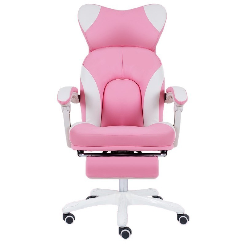 High Quality Office Boss Gaming Esport Poltrona Silla Gamer Synthetic Leather Chair Pink Cute Massage Footrest Ergonomics