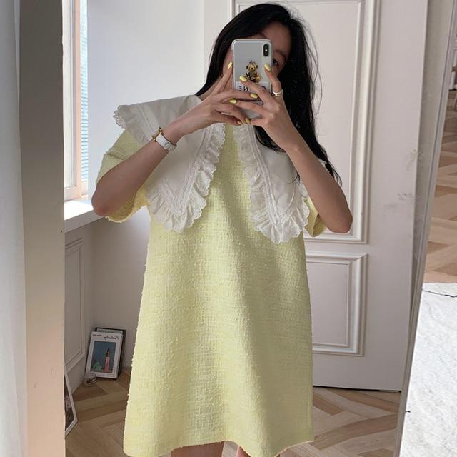 [EWQ] Women Green Patchwork Dress New Turn-down Collar Short  Sleeve Loose Fit Fashion Casual Tide Spring Summer 2021 16F0789 2