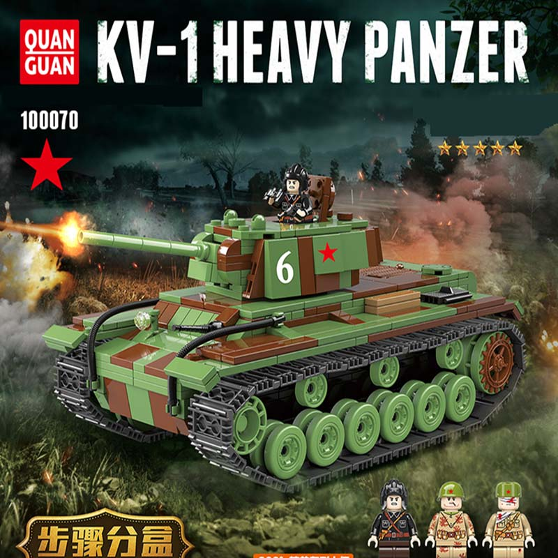 768pcs LegoINGlys Military Figure Kv-1 Heavy Panzer Tank Ww2 Technic Soldier Weapon Building Blocks Brick Dolls Toy Gifts 100070