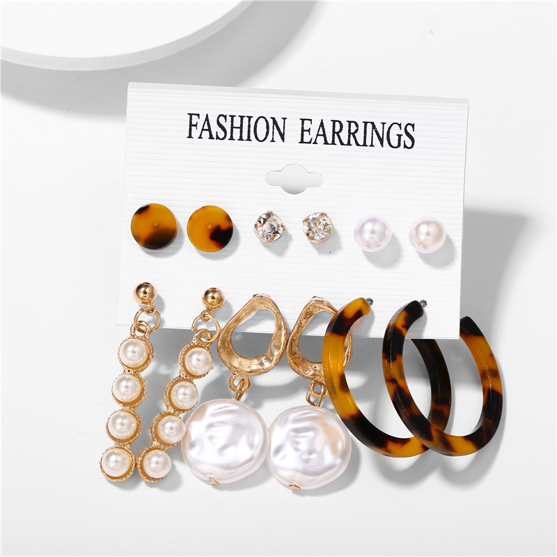 H1d0fe487d2744280ac0e3324b7c99273Z - IF ME Fashion Vintage Gold Pearl Round Circle Drop Earrings Set For Women Girl Large Acrylic Tortoise shell Dangle Ear Jewelry