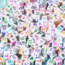 1200PCS  A-Z Acrylic Letter Beads White Square Cube Letter Beads  Jewelry Making free shipping 100 pcs mixed 7 colors square wood beads letter a z cube sewing scrapbooking crafts handmade 1 hole wooden button