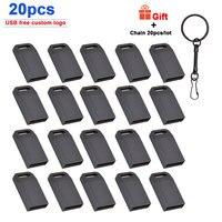 20 unids/lote Mini USB 2,0 flash drive 128GB 64GB 32GB 8 GB de Metal Pen Drive Pendrive 128 64 32 16 8 GB de memoria Flash Cle USB logotipo gratis