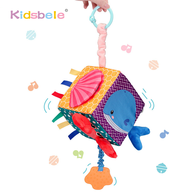 Soft Baby Toys Plush Rattles Mobiles Teether Infant Toys 0-12 Months Stroller Hanging Toys Educational Activity Cube