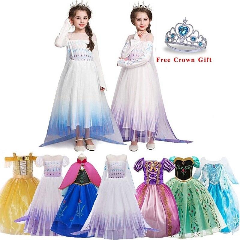 Free crown Baby Girls Dress 2020 Christmas Cosplay Costume Summer Girl Princess Dress for Birthday Party Vestidos Menina(China)