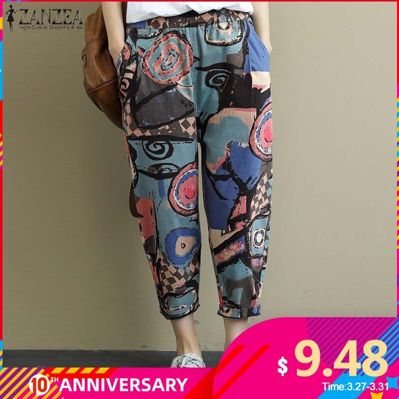 ZANZEA Vintage Printed Harem Pants Women Trousers Casual Elastic Waist Cotton Linen Turnip Pants Loose Pantalon Plus Size Pants