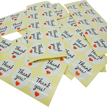 100pcs/pack Red Love White Grass Body Thank You Round Self-adhesive Gift Cake Baking Sealing Sticker