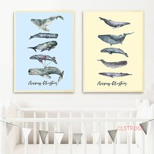 Nordic Pop Art Posters And Prints Watercolor Cartoon Whale Canvas Painting Kid Room Wall Picture For Nursery Decoration No Frame(China)