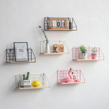 Nordic Iron Wall Storage Rack Shelf Wall Hanging Wall Decoration Living Room decorative shelf retro solid wood storage rack wall hanging arrow storage holder shelf on the background decoration wall home organization shelf