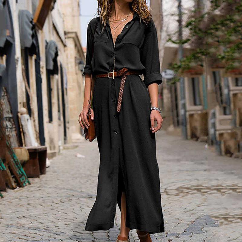 Donne casual Solido Sciolto Camicia di Vestito Allentato Manica Lunga Ufficio Vestito Camicia di Stile della Molla Delle Signore della caviglia-lunghezza Vintage Button vestito