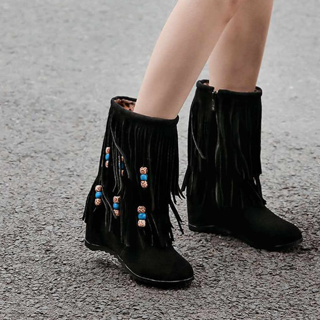 Ladies Casual Autumn Shoes Women Boots Warm Flock Boots For Women Suede Long Fringe Winter Embroidered Tassel Booties