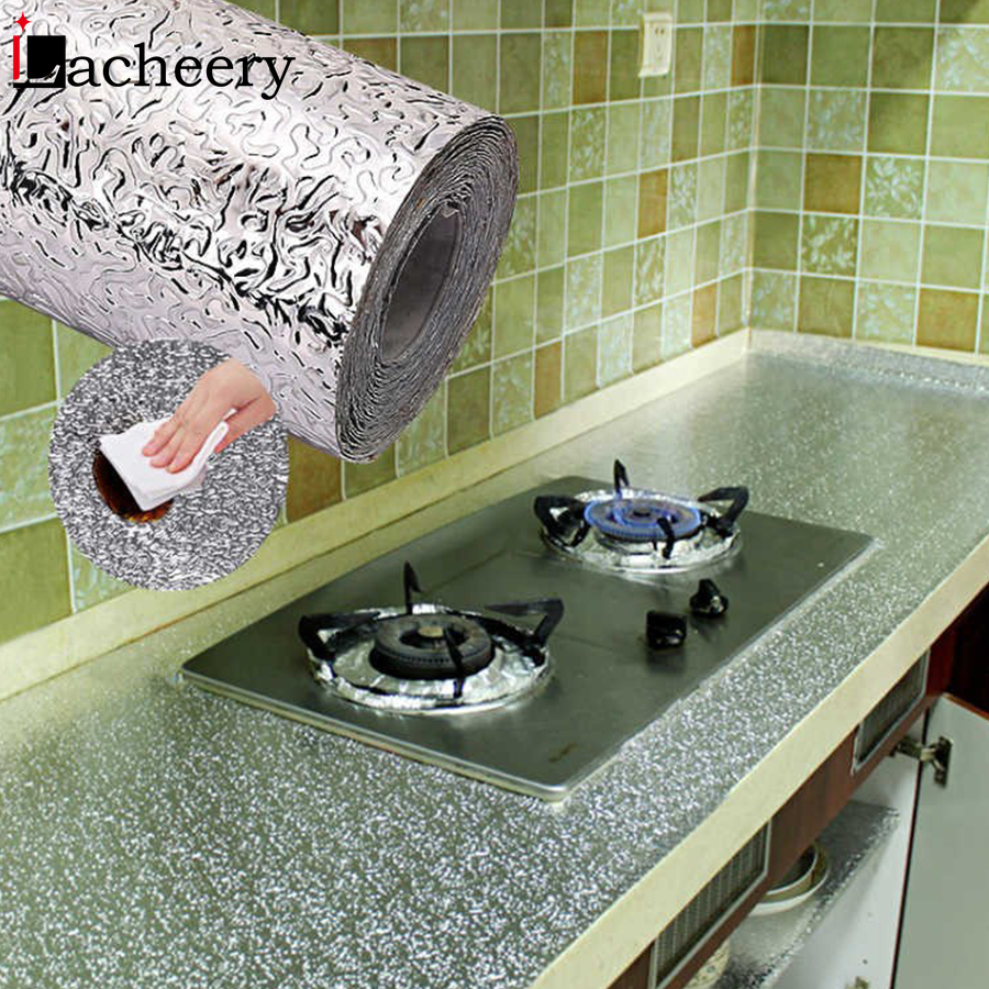 Aluminum Foil Kitchen Oil-proof Waterproof Stickers Stove Countertop Cupboard Drawer Decor Contact Paper Self Adhesive Wallpaper