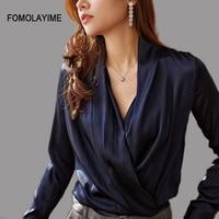 2020 High Quality Women Shirts Spring Fashion V neck Solid Blouses Shirt