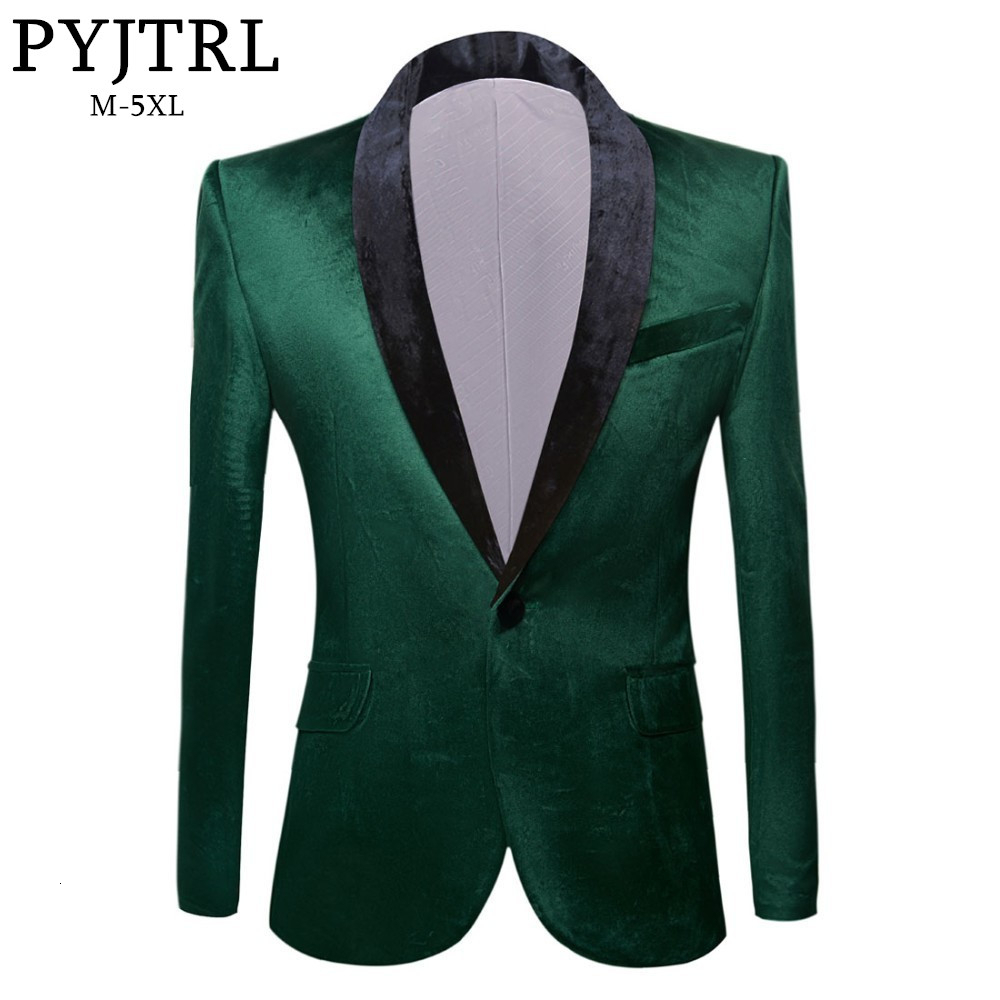 PYJTRL Men's Green Purple Pink Blue Gold Red Black Velvet Fashion Suit Jacket Wedding Groom Stage Singer Prom Slim Fit Blazers 1