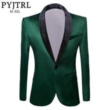 PYJTRL Mens Green Purple Pink Blue Gold Red Black Velvet Fashion Suit Jacket Wedding Groom Stage Singer Prom Slim Fit Blazers