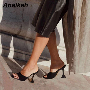 Aneikeh NEW Fashion Flock Slippers Shoes Woman Heeled Square head Flip Flops Peep Toe Slip-on Thin High Heels Lady Party Pumps