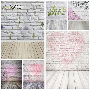 Laeacco Brick Wall Photography Backdrops Wooden Floor Printed Flowers Photo Backgrounds Baby Shower Photophone Newborn Photozone