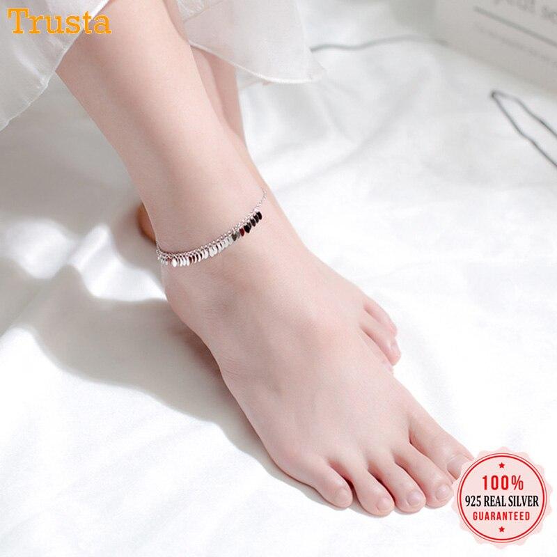 Trustdavis 2019 100% 925 Sterling Silver Jewelry Oval Leaves Tassel S925 Anklet Birthday For Women Silver 925 Jewelry DA236