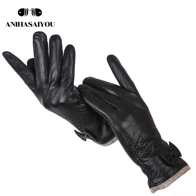 Top Grade Leather Gloves Women,sheepskin Genuine Leather Gloves Women,outdoor Winter Gloves Women -8030