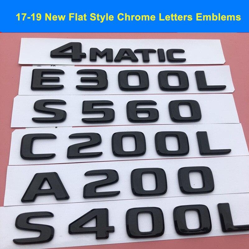 Chrome S AMG Letters Trunk Emblem Badge Sticker for Mercedes Benz C63 W205 W212
