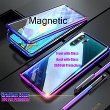 Capa magnética 360 para huawei p30 pro, capa de vidro temperado dupla face para huawei mate 20 pro e p20 pro capa inteligente z de metal amortecedor
