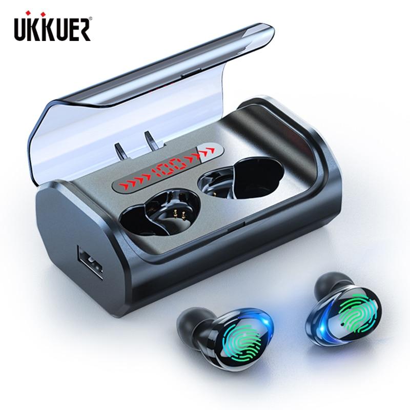 T8 bluetooth 5.0 fone de ouvido controle toque headphons sem fio hd estéreo à prova dwaterproof água com 2500 mah display led caixa carregamento