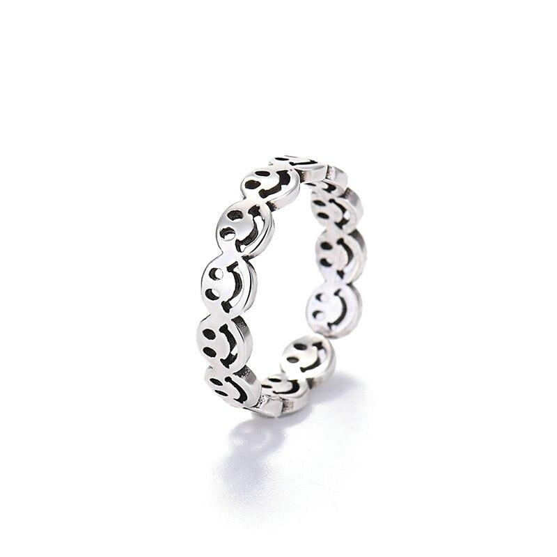 Элегантный цвет: старое серебро со счастливым «смайликом» Открытое кольцо для Для женщин простой с разноцветным рисунком в виде смайликов ...