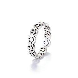 Elegante antigo prata cor feliz sorriso rosto aberto anel para as mulheres simples oco bonito multi smiley faces anéis ajustáveis a908