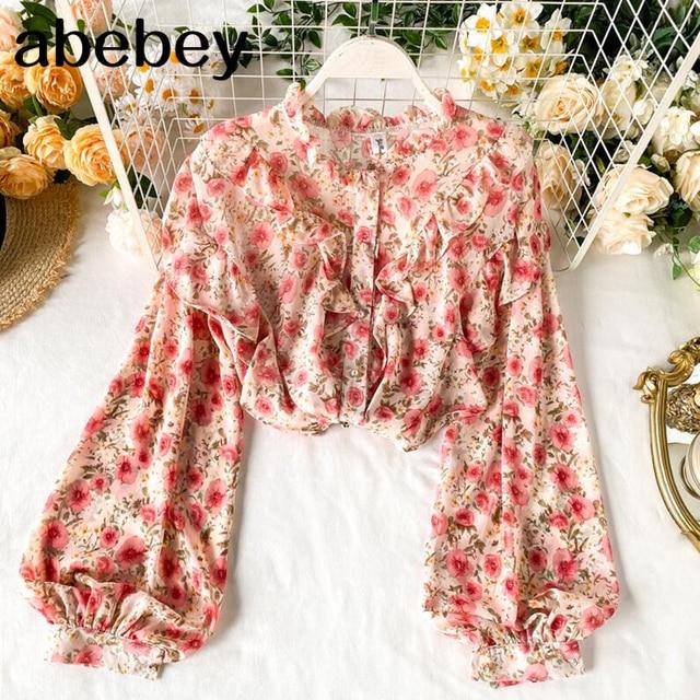 Elegant Sweet ruffle Women Shirt Lantern sleeve Floral print Chiffon Shirts and Blouses 2020 Spring Slim Female blouses Tops 1