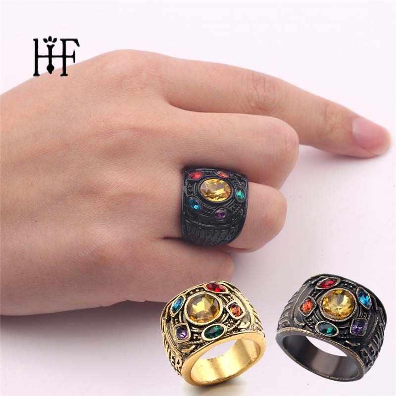 Anéis de guerra do infinito anéis de guerra do infinito dos homens das mulheres anillo infinito jóias 3 cores gauntlet poder vingadores thanos luva