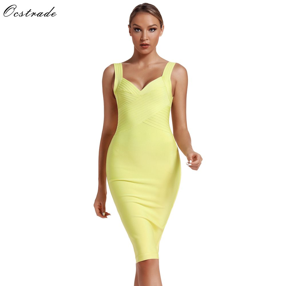 Ocstrade New Arrival 2019 Summer Fashion Women Cross Bust Neon Bandage Dress Sexy Backless Bodycon Party