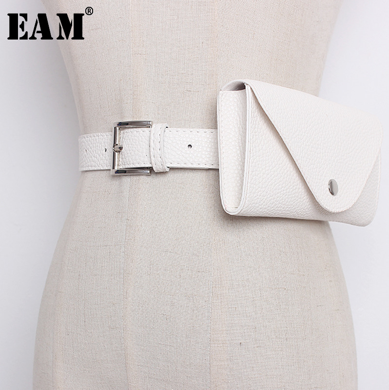 [EAM] 2020 New Product Fashion Women Simple Mini-Bag Pu Leather Asymmetrical High Quality Trendy  Long Belt All-match AA218