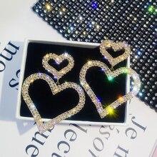 Exaggerated Fashion Crystal Double Heart Earrings Contracted Joker Long Women Drop Earrings Jewelry Boho Vintage Earrings artificial crystal floral hollowed heart drop earrings