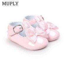 Nueva llegada zapatos de bebé de cuero de la PU bebé niña princesa con arco cuna zapatos 6 Color sólido lindo bendición zapatos, zapatos de bautismo de niño, Zapatos Niño, Zapatos Niño, zapatos de chico mocasines para