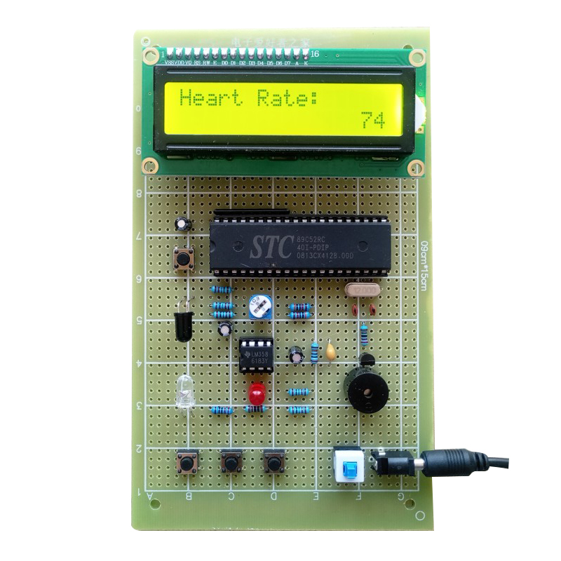 Heart Rate Meter Based On 51 Single-chip Computer Graduation Design Pulse Measuring Instrument Making Kit Universal Board