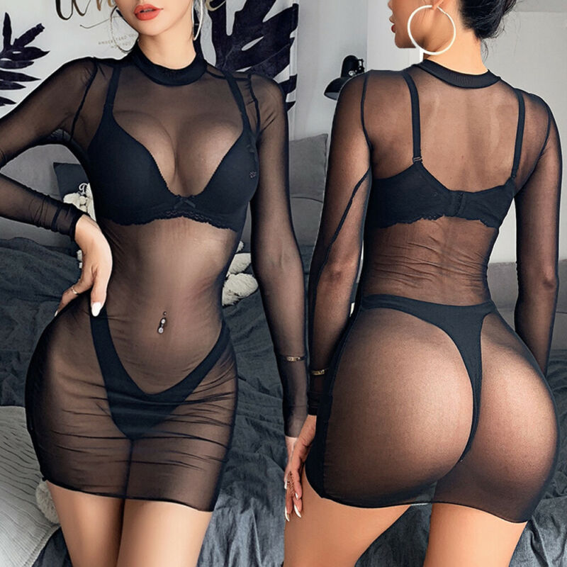 Women's Sheer Mesh Bikini Cover Up Fish Net Perspective Swimwear Swimsuit Bathing Suit 2020 Hot Solid Color Summer Beach Dress