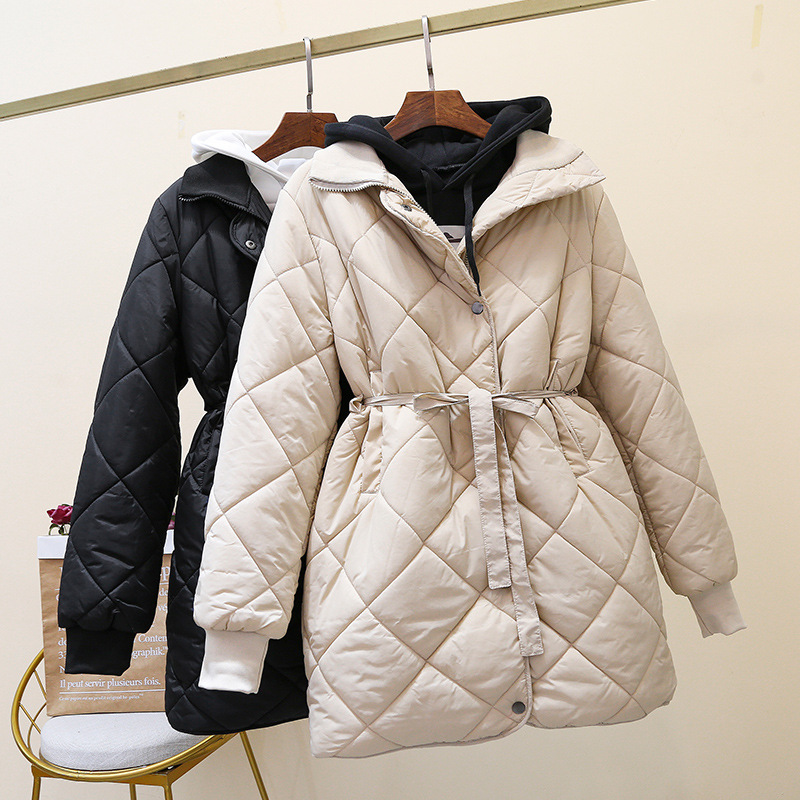 Mooirue 2019 Winter   Parkas   Oversized Solid Coats Women With Sashes M-3XL Pocket Harajuku Long   Parkas   Korean Plus Size Coats