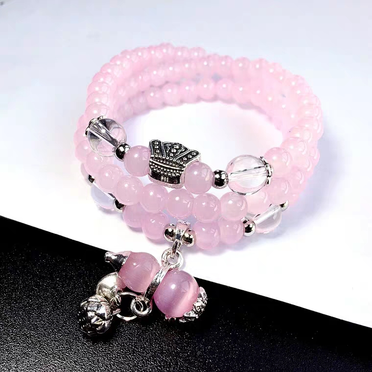 Madagascar Natural Rose Quartz Bracelet Gourd Pendant 6mm Women Gift Stretch Crystal Stretch Clear Round Beads Necklace AAAAA