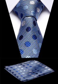 Luxury Men`s Classic Tie 7.5cm 100% Silk Novelty Geometric Handkerchief Sets For Wedding Business Party Formal Dress