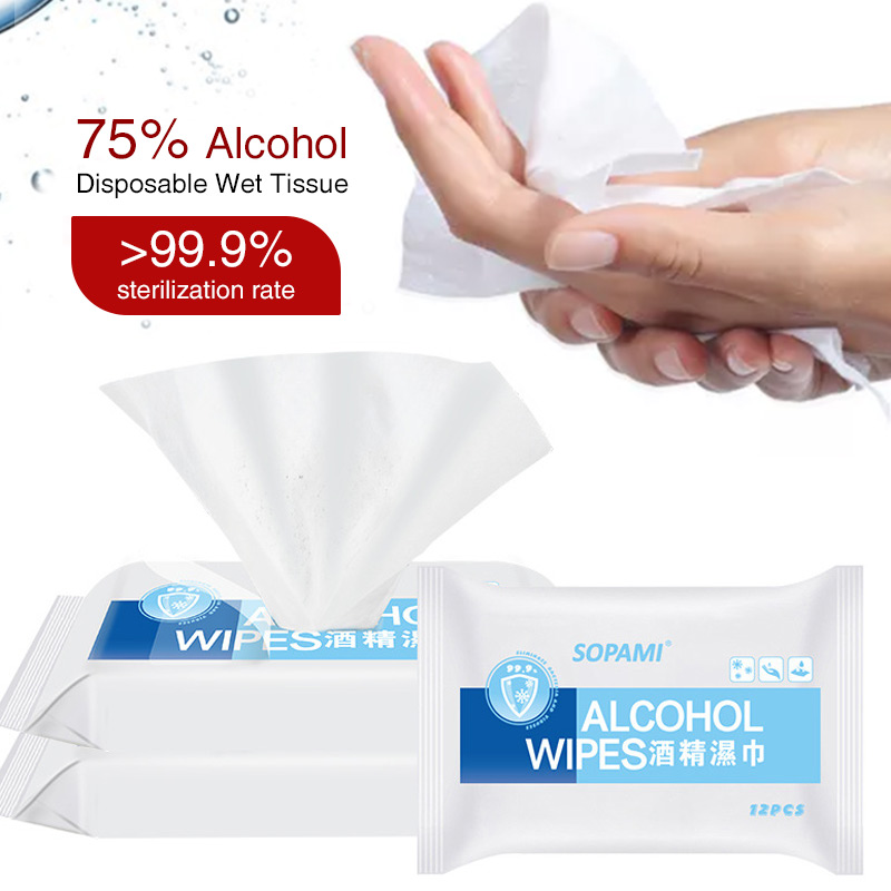 Free Shipping 12pcs/Pack 75% Disinfectant Antiseptic Wipe Isopropyl Alcohol 99 Care Sterilization First Aid Cleaning Tissue