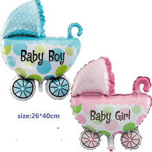 1pscNew Baby Stroller Foil Balloons Baby Shower Carriage Boy & Girl Balloon Inflatable Toys Children Birthday Party Decorations(China)
