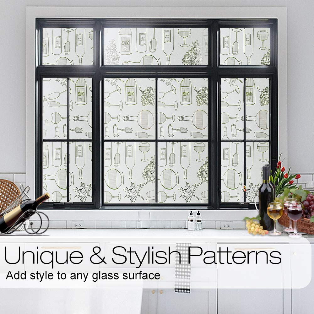 LUCKYYJ Decor Privacy Window Film Frosted Self-adhesive Film Static Cling Window Sticker Anti UV Glass Film for Home Kitchen 4