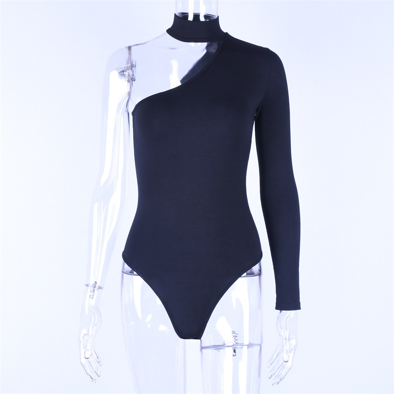 Top Sale^Sexy Bodysuit Long-Sleeve HALTER One-Shoulder Women Cotton New-Fashion Spring Casualµ