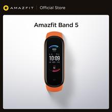 إصدار عالمي جديد لعام 2020 سوار يد ذكي طراز Amazfit 5 مزود بسوار ذكي لقياس معدل ضربات القلب 5ATM مكون من 11 وضع رياضي لقياس مستوى الضغط سوار ذكي للياقة ...