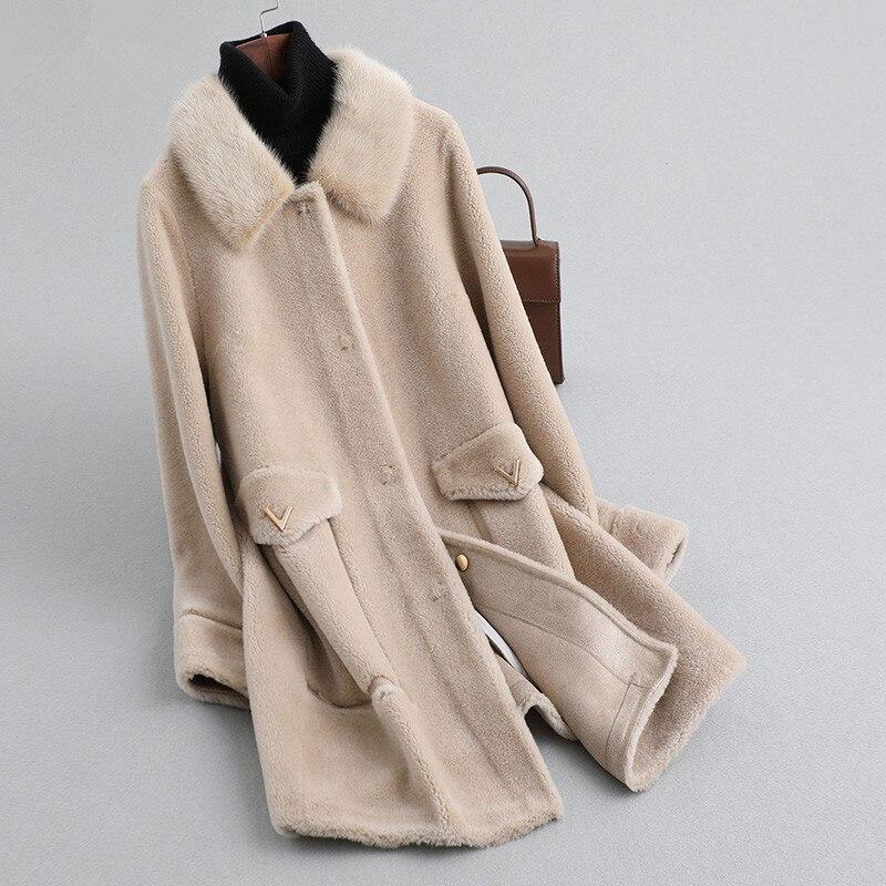 Wool 100% Coat Winter Coat Women Real Fur Coat Female Mink Fur Collar Sheep Shearling Jacket Korean Long Coats MY4578 S