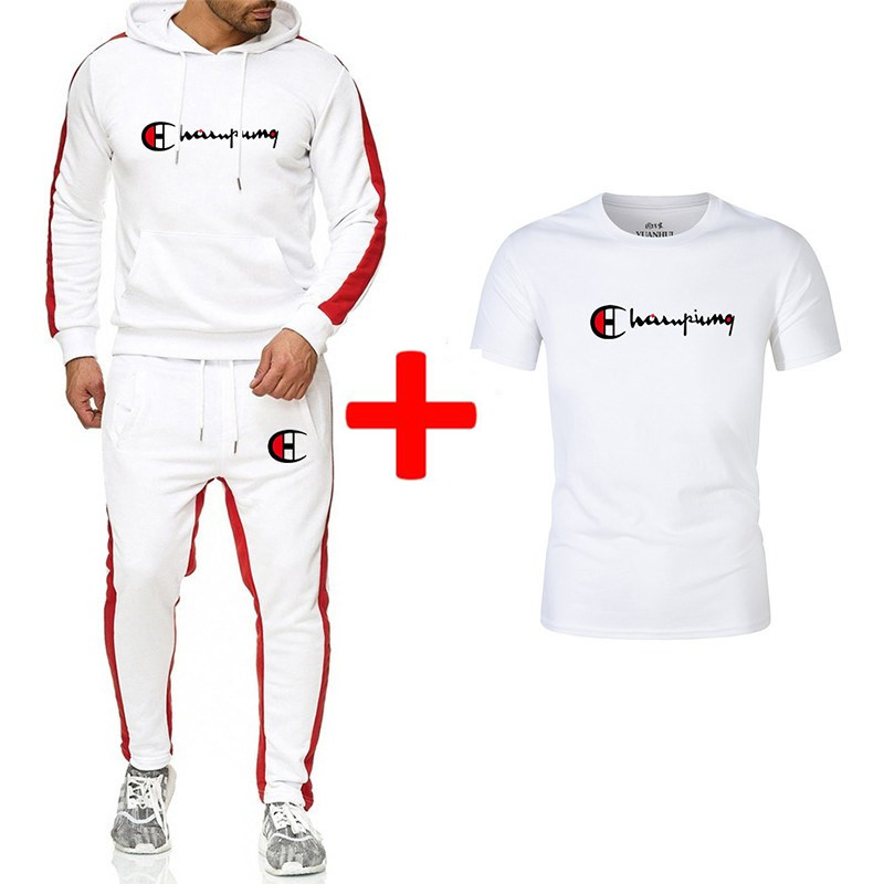 2019 New Men's Suit Fashion Autumn And Winter Sports Suit Hoodie + Sweatpants + T-shirt 3 Sets Of Slim Sportswear Brand Clothing