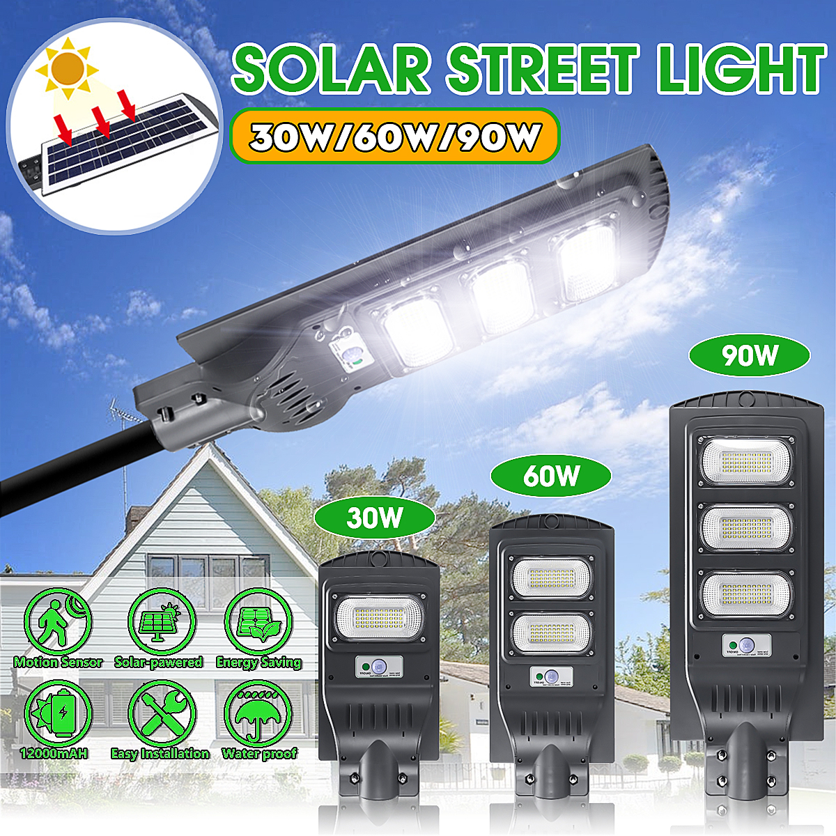 LED Street Light 30/60/90W LED Solar Light Radar PIR Motion Sensor Wall Timing Lamp+Remote Waterproof for Plaza Garden Yard