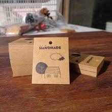 100 pçs/lote árvore casa em nuvem artesanal mini cartões de papel etiquetas de pendurar etiquetas de papel adesivo presente acessórios