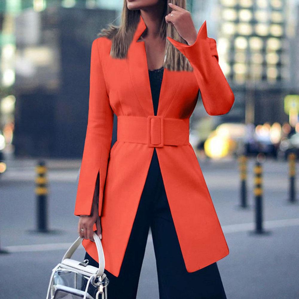 2020 Spring White Blazer Coat Women Office Jacket Ladies Elegant Business Outwear Sexy Streetwear Fashion Belt Slim Long Blazers