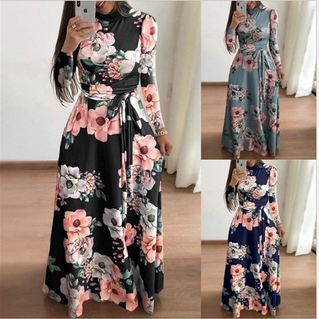 Plus size women's summer long super long dress 2020 casual long sleeve flower print dress casual high collar bandage Vestidos 1