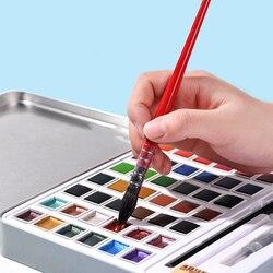 Aibelle 36/48 Color Pearlescent Solid Watercolor Paint Set Iron Box Set Portable Watercolor Pigment Art Supplies